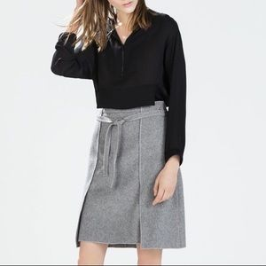 Zara Gray Wool Blend Belted A-Line Skirt